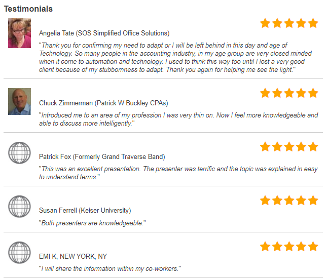 """Testimonials from The Future of Outsourced Accounting and Accounting Technology"""" (Webinar Recording)"""